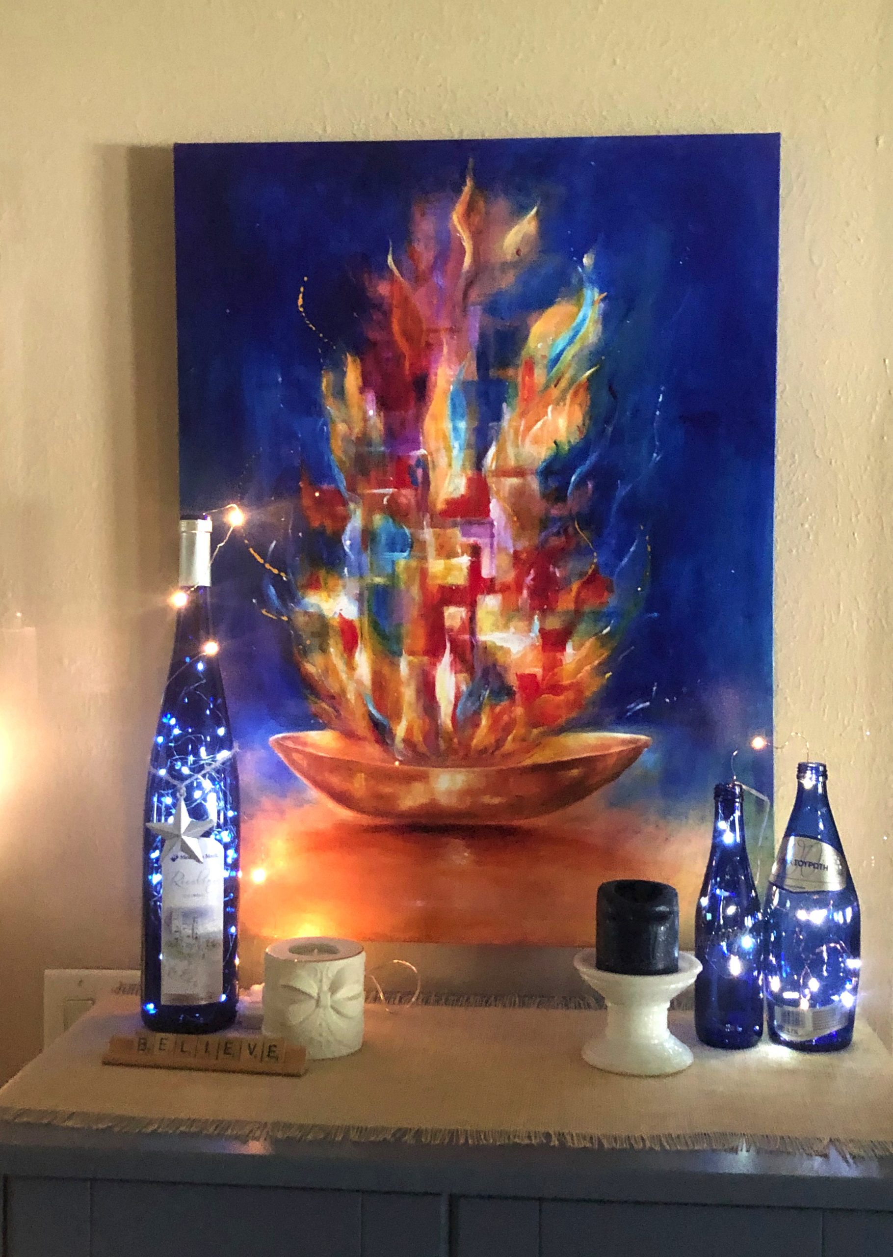 Prayers of the Saints - giclee with lights